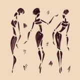 африканские диаграммы вектор танцоров иллюстрации вычерченная рука Стоковое Изображение RF
