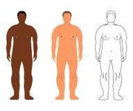Африканские и европейские люди Шарж, стиль плана людск иллюстрация вектора