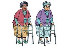 Африканские и кавказские пожилые женщины с ходоком иллюстрация вектора