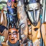 Африканские маски в Марокко Сувенирный магазин Стоковая Фотография RF