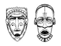 Африканские маски дикарей гравируя вектор стиля Стоковая Фотография