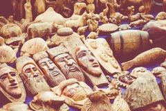 Африканские маски, Марокко Сувенирный магазин в Агадире Стоковая Фотография RF