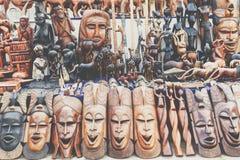 Африканские маски, Марокко Сувенирный магазин в Агадире Стоковое Фото