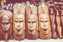 Африканские маски, Марокко Сувенирный магазин в Агадире Стоковое фото RF