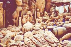 Африканские маски, Марокко Сувенирный магазин в Агадире Стоковая Фотография