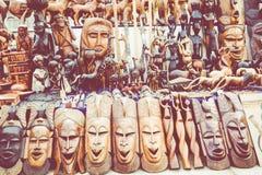 Африканские маски, Марокко Сувенирный магазин в Агадире Стоковые Фотографии RF