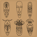 африканские маски Иллюстрация вектора