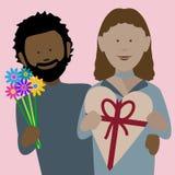 Африканские пары валентинок в любов стоковые изображения