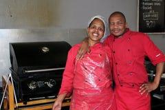 Африканские работники рынка Стоковая Фотография