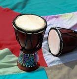 Африканские традиционные деревянные барабанчики djembe Стоковое Изображение