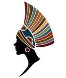 Африканские фотомодели силуэта женщин на белой предпосылке иллюстрация штока