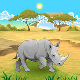 Африканский ландшафт с носорогом Стоковые Изображения RF
