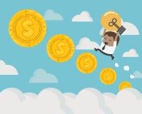 африканский бизнесмен вверх по шагам монетки лестницы монеток к th иллюстрация вектора