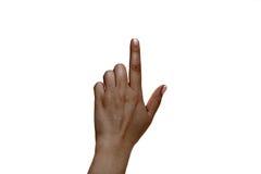 Африканский женский указательный палец на белой предпосылке Стоковая Фотография RF