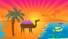 африканский заход солнца иллюстрация штока