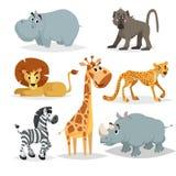 Африканский комплект шаржа животных Гиппопотам, обезьяна павиана, лев, жираф, гепард, зебра и носорог Собрание млекопитающего зоо иллюстрация штока