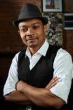 Африканский музыкант син с шляпой Стоковое Изображение