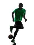 Африканский силуэт футболиста человека Стоковое Фото