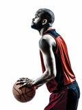 Африканский силуэт штрафного броска баскетболиста человека стоковая фотография rf