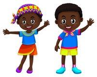Африканский усмехаться мальчика и девушки иллюстрация штока