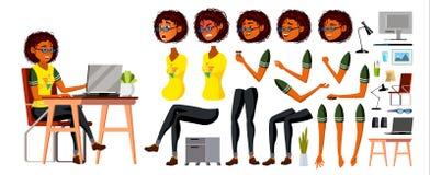 Африканский черный вектор характера бизнес-леди Работая американская женская девушка Характер дела африканский черный работая на иллюстрация штока