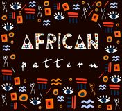 Африканский шаблон на коричневой предпосылке иллюстрация вектора