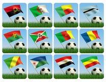 африканский шарик 3d flags футбол травы Стоковые Фото