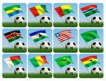 африканский шарик 3d flags футбол травы Иллюстрация вектора
