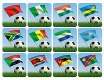 африканский шарик 3d flags футбол травы Стоковое фото RF
