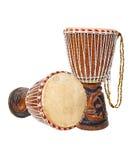 2 африканских барабанчика djembe Стоковое фото RF