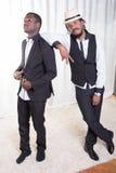 2 африканских парня представляя на ковре Стоковое Изображение RF