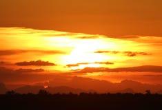 Африканское небо на заходе солнца Стоковая Фотография