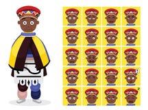 Африканское племя одевает женскую иллюстрацию вектора сторон эмоции шаржа Ndebele иллюстрация вектора