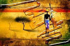 Африканское этническое ретро винтажное искусство Стоковое Фото