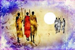 Африканское этническое ретро винтажное искусство Стоковые Фотографии RF
