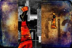Африканское этническое ретро винтажное искусство Стоковое Изображение