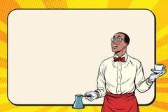 Афроамериканец Barista сделал свеже земной кофе иллюстрация вектора