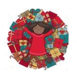 Афро-американская девушка с иллюстрацией вектора подарков Счастливый темнокожий ребенок лежит на горе подарков и смеха Стоковое Изображение