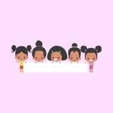 Афро-американские девушки с пустым знаменем Бесплатная Иллюстрация