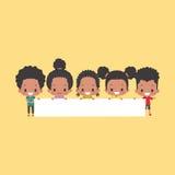Афро-американские дети с пустым знаменем Иллюстрация вектора