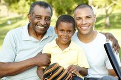 Афро-американские дед, отец и сын играя бейсбол в парке Стоковые Изображения RF