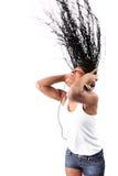 афро американские наушники слушают нот Стоковое Фото