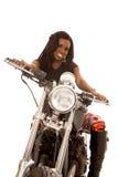 Афро-американский взгляд мотоцикла гетры женщины стоковое фото