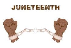 Афро-американский День независимости, 19-ое июня День свободы и высвобождения Поднятые руки ломая цепь, сережки Рука стоковые фото