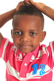 афро американский черный ребенок 12 изолировал усмешки Стоковое Фото