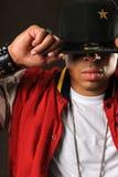 Афро-американский человек с шляпой стоковое фото rf