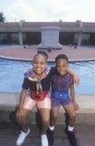 2 Афро-американских дет в центре Мартин Лютер Кинга, Атланте, Georgia Стоковое Изображение RF