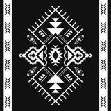 Ацтекские геометрические безшовные картины Племенная черно-белая печать иллюстрация штока