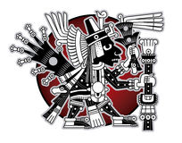 Ацтекский бог коммерции и путешественники vector иллюстрация Стоковое Изображение RF