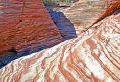 Ацтекское образование утеса камня песка около красного каньона утеса, южного Невады Стоковые Фото